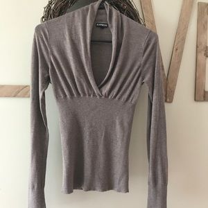 Express taupe sweater. Too low cut for my liking